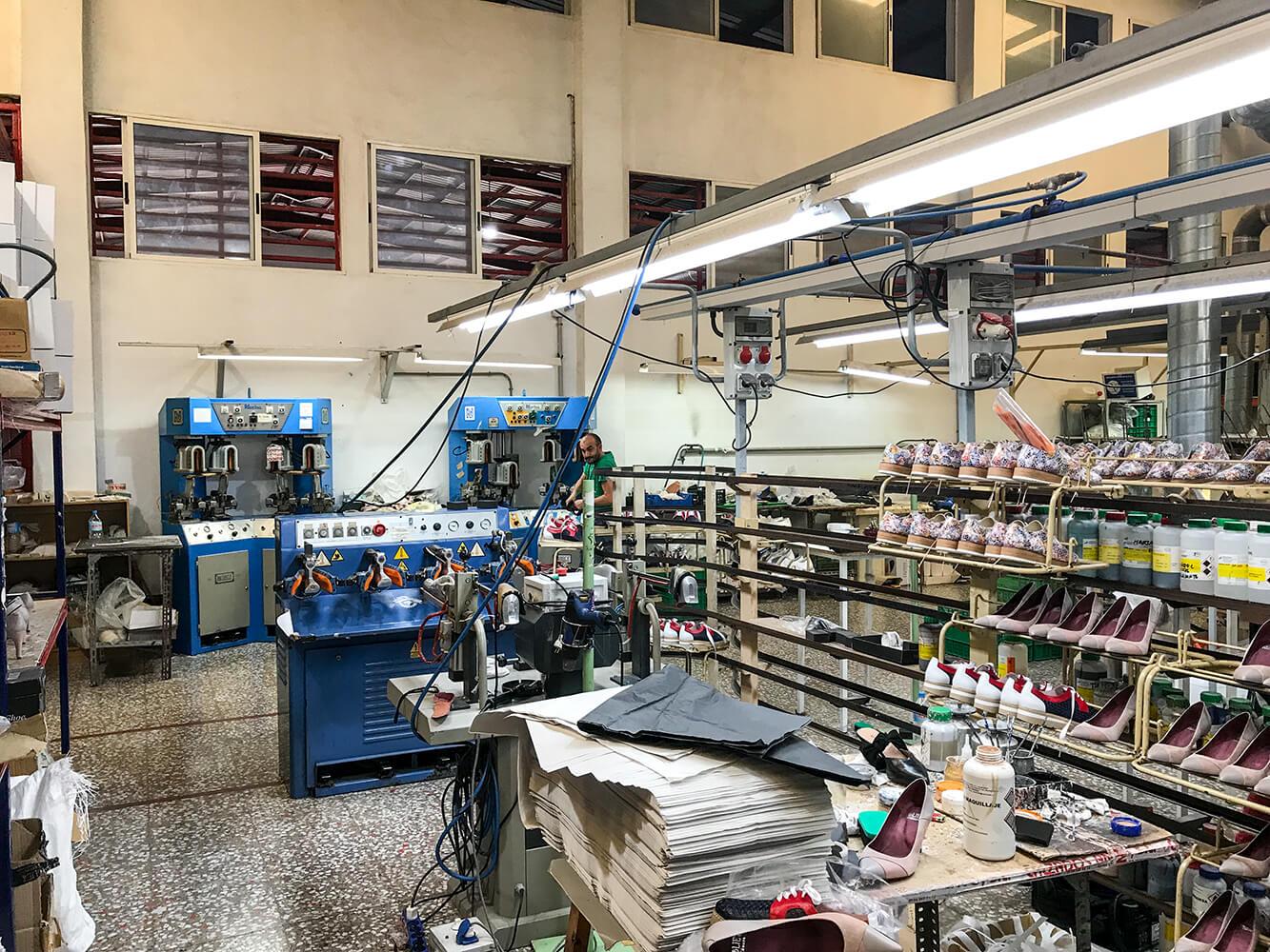 Besuch einer Produktionsstätte eines Schuhlieferanten