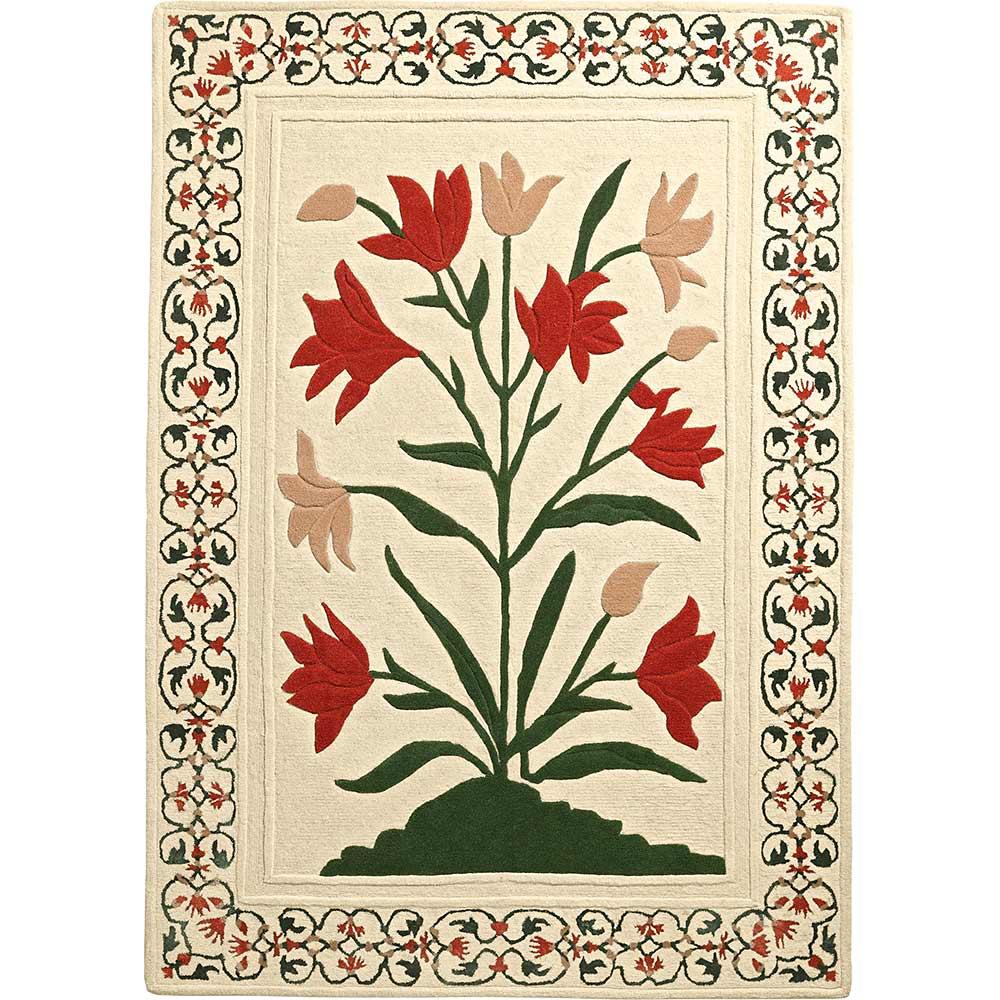 Handgewebter Hochflor-Teppich aus Wolle und glänzender Viskose