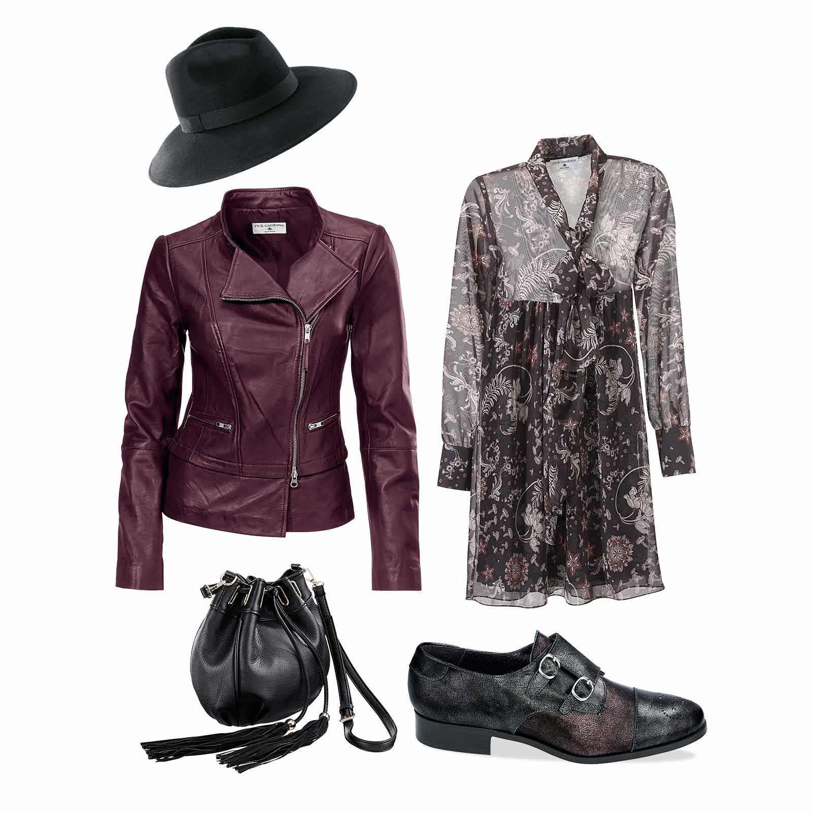 Outfit Lederjacke mit Kleid