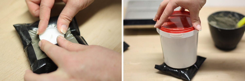 Betonkissen-Kerzenhalter: Teelicht darauf setzen und mit einem Gewicht beschweren