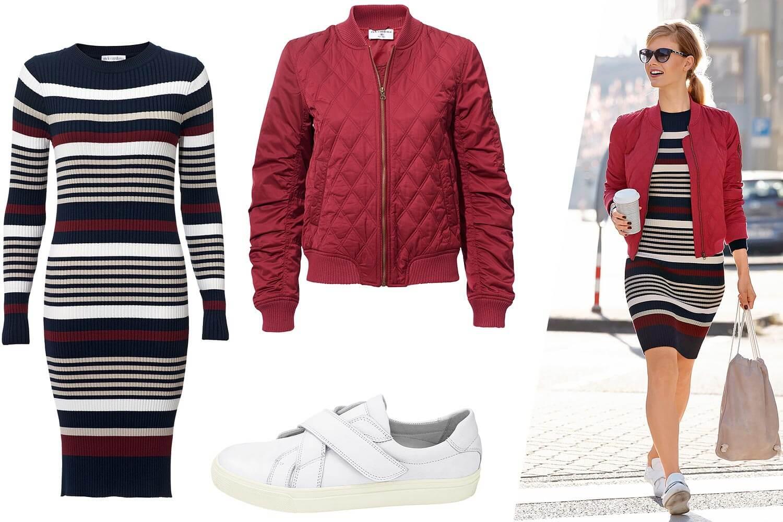 Outfit Bomberjacke + Streifenkleid