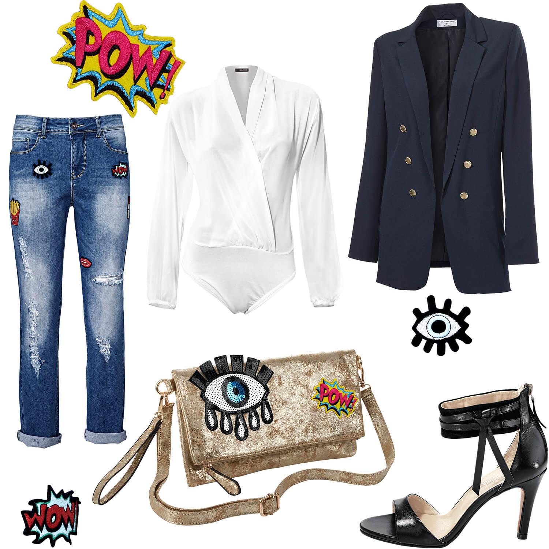 Outfit Patches - Jeans und Clutch mit Aufnäher