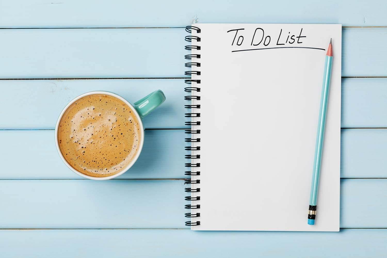 Schreibe alles auf und mache eine Liste