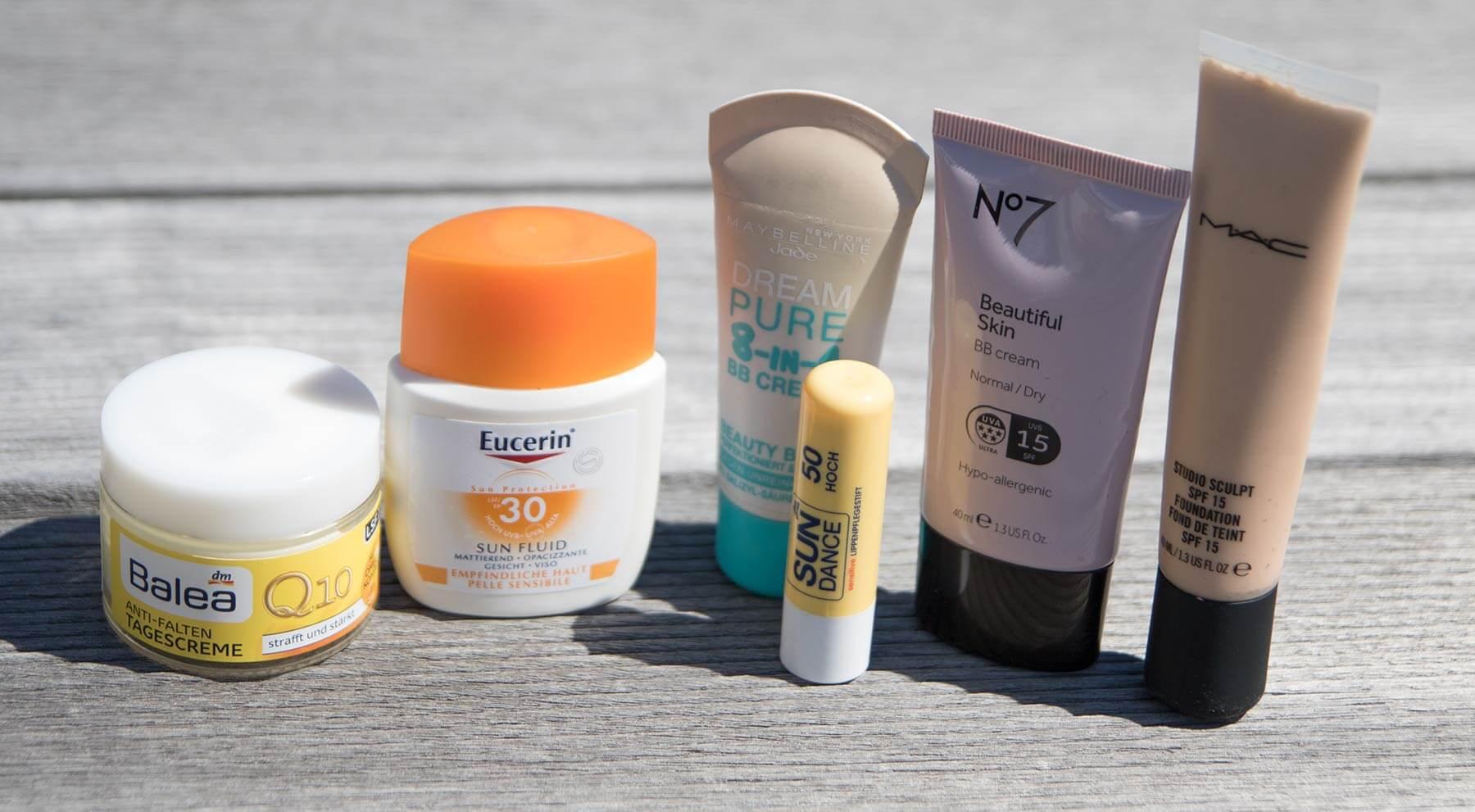 UVB- und UVA-Schutz ist auch in Kosmetikprodukten zu finden.