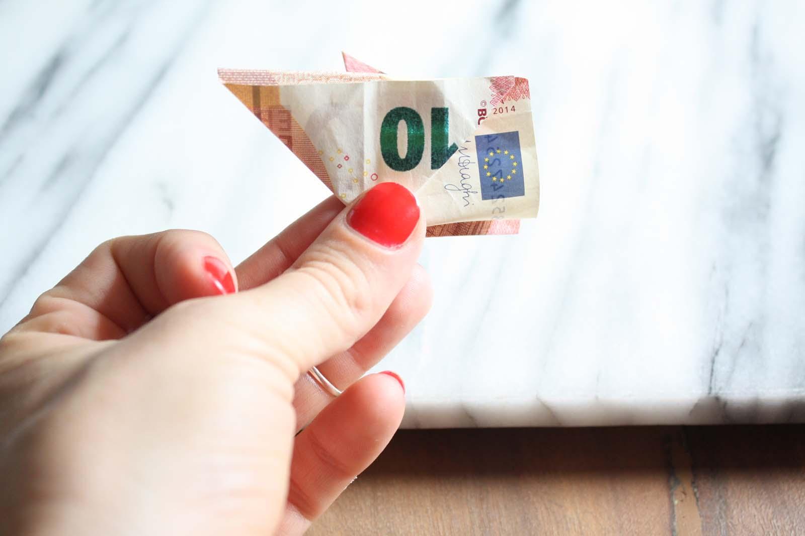 Geldscheine falten: Schweinchen -Dreieck andere Seite