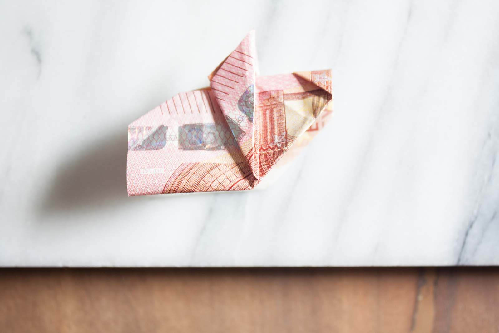 Geldscheine falten: Schweinchen-Schnauze
