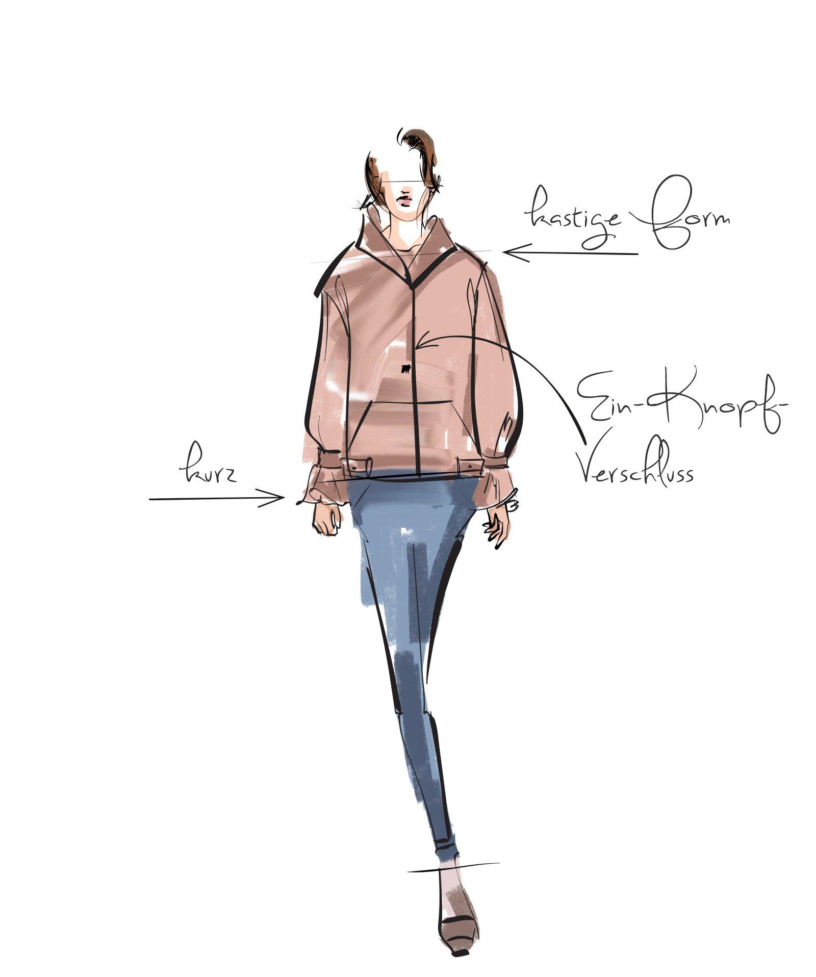 Illustration von kleiner Frau mit Winterjacke