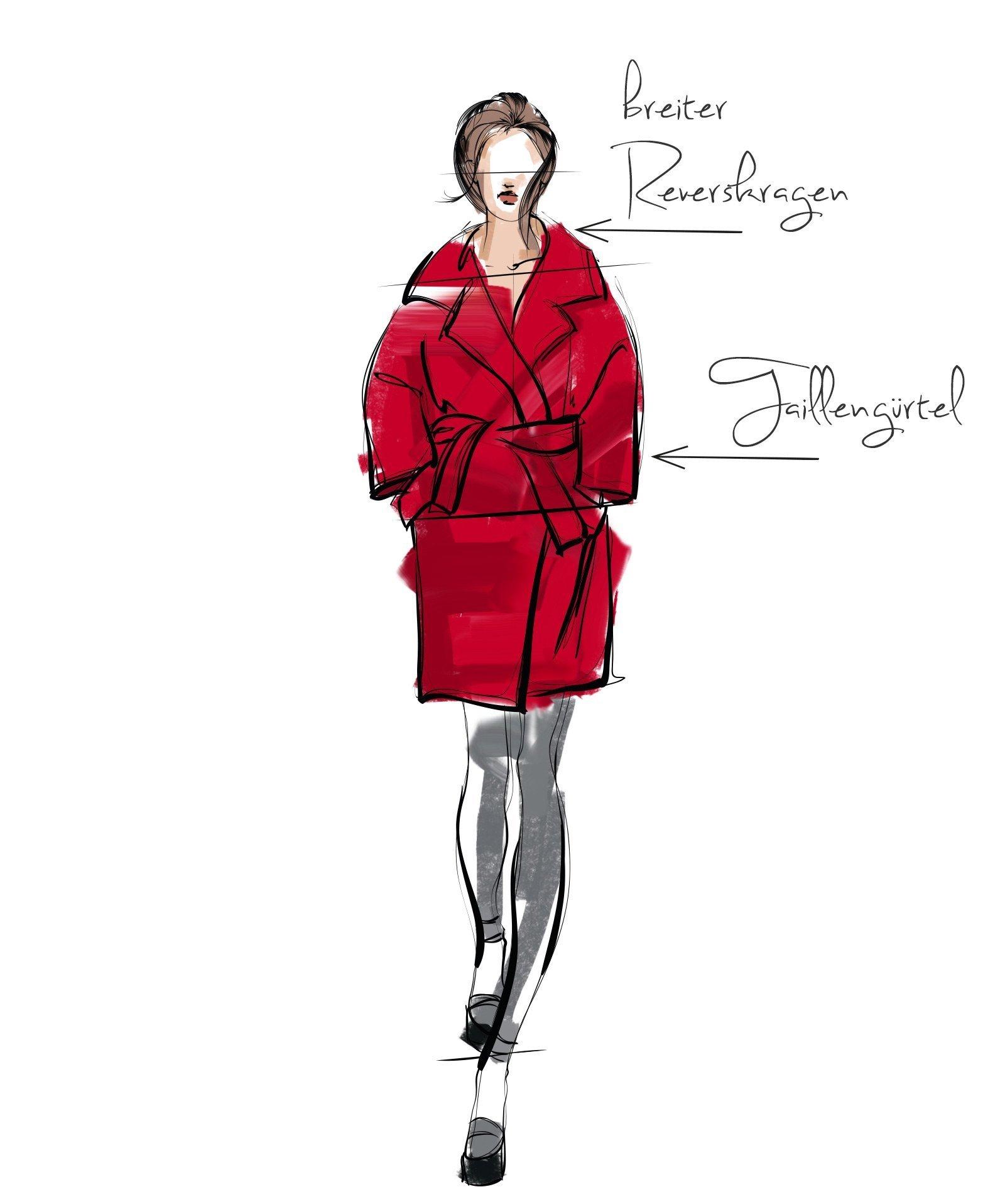 Illustration von Frau mit rotem Mantel maskuline figur