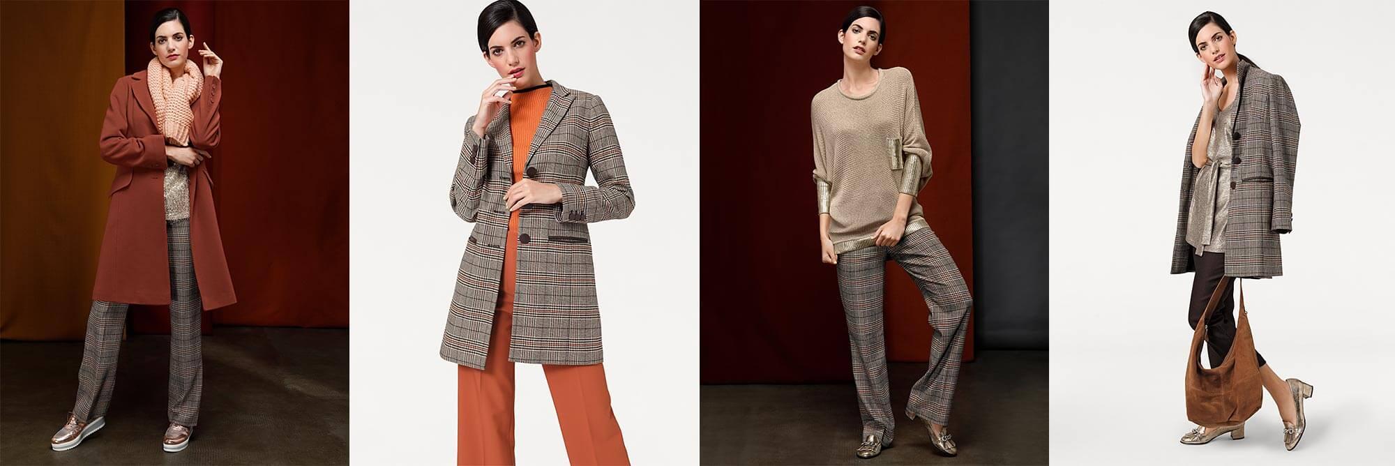 Outfit-Inspirationen: Verschiedene Outfits mit Glencheck-Muster