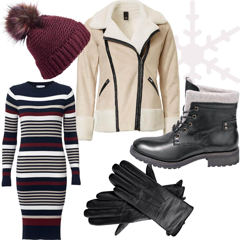 Weihnachtsmarkt-Outfit 4: Edgy in Teddyfell und Leder