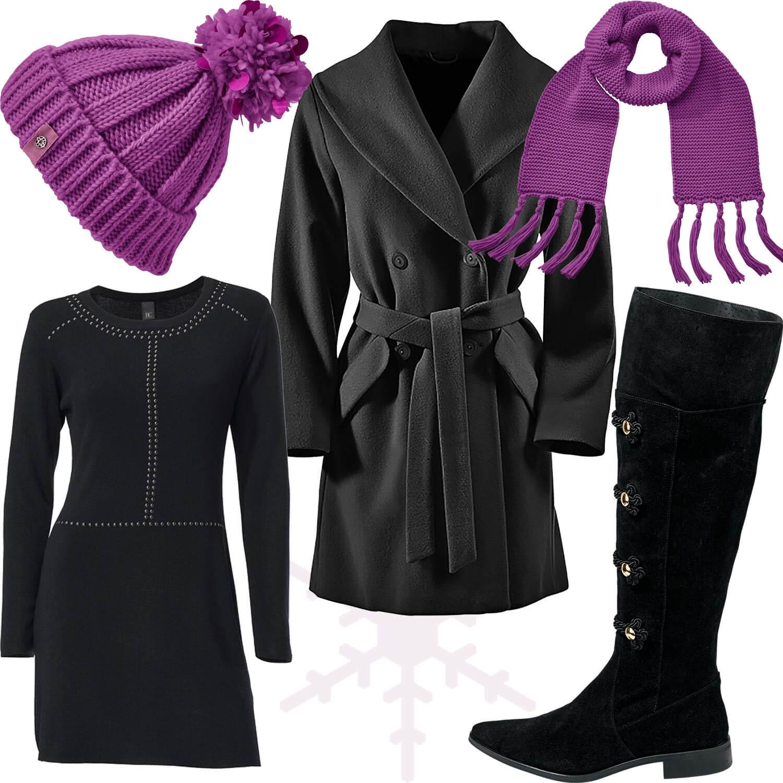 Weihnachtsmarkt-Outfit 6: Elegant in schwarz und fuchsia