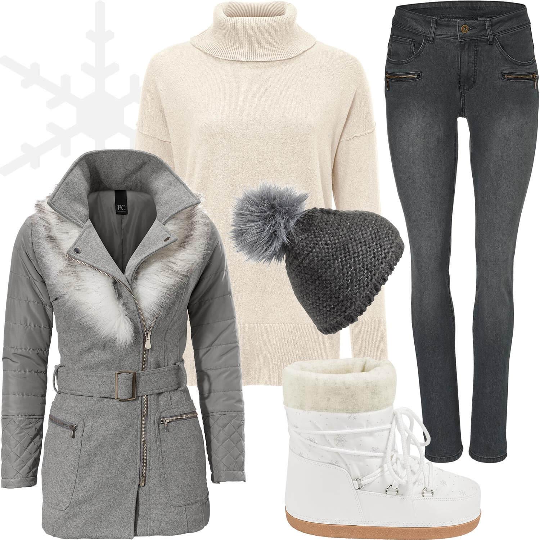 Weihnachtsmarkt-Outfit 3: Gemütlich in Grau und Weiß