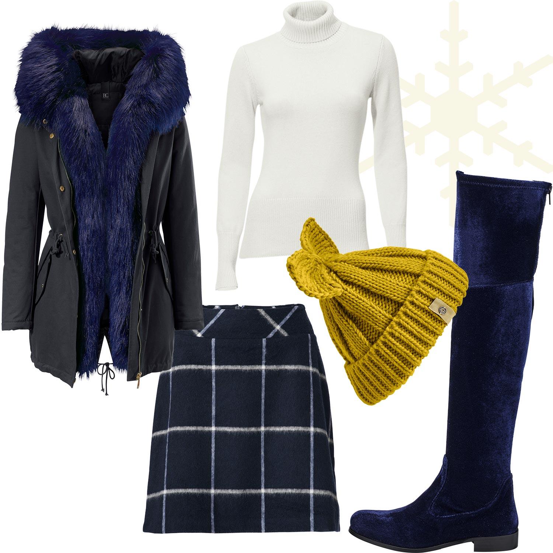 Weihnachtsmarkt-Outfit 1: Trendy in Royalblau und Samt