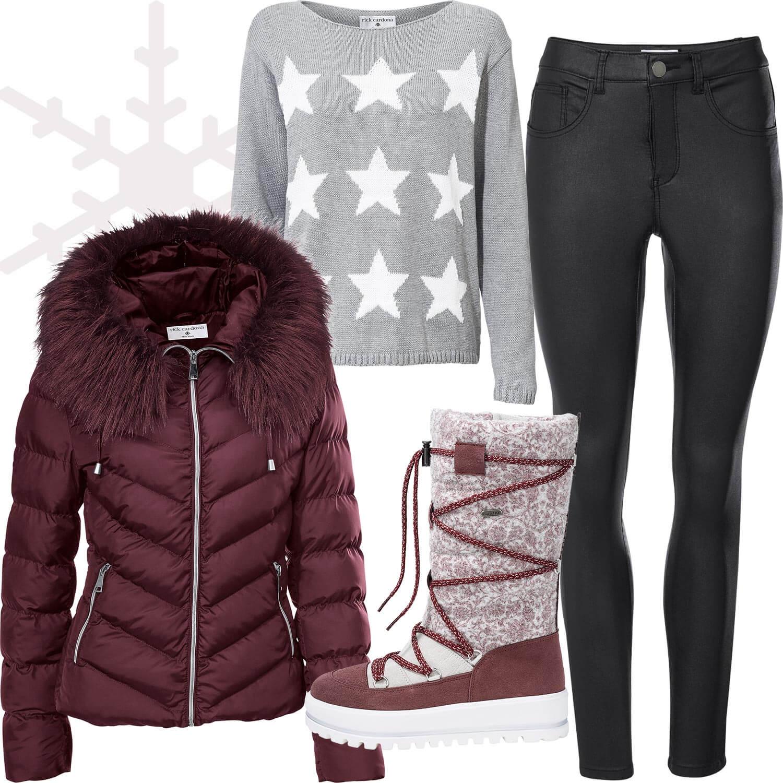 Weihnachtsmarkt-Outfit 2: Unkompliziert in Daunenjacke und Schneestiefeln