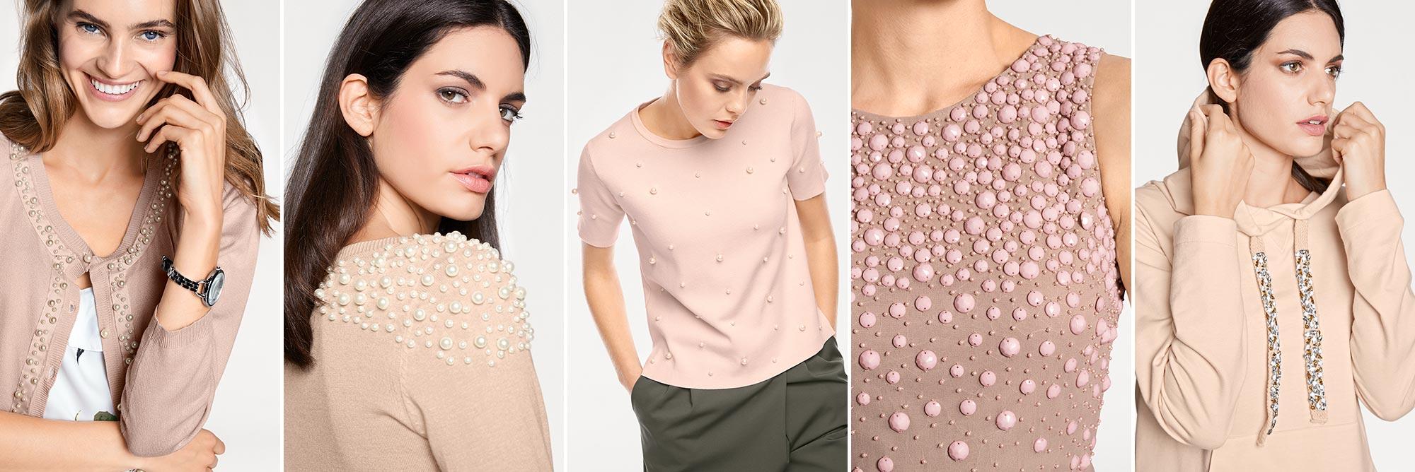 Kollage Perlenbestickte Kleidung rosa