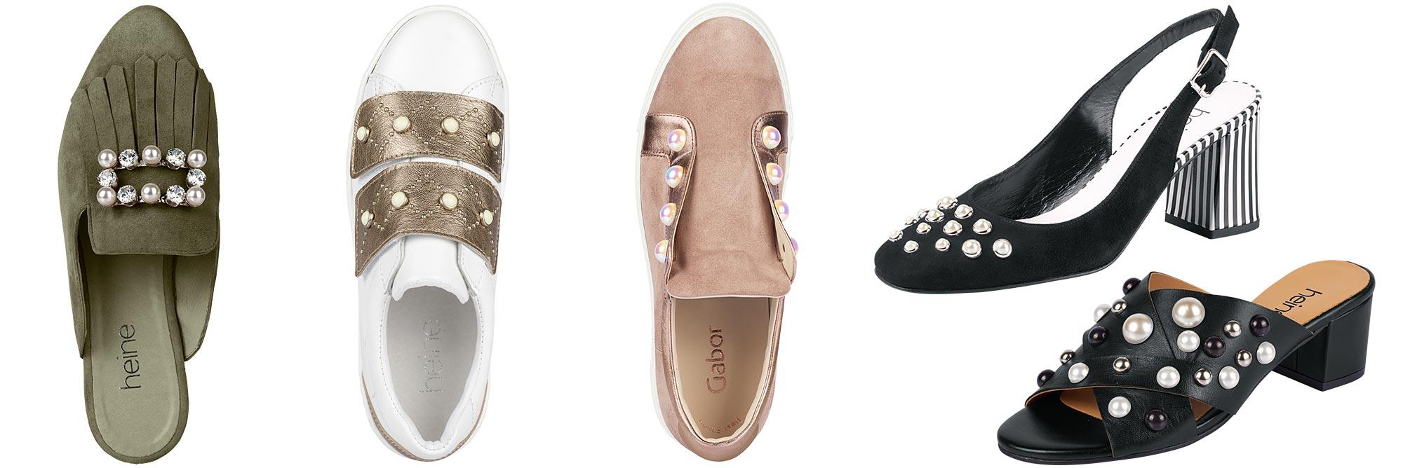 Kollage Schuhe mit Perlen