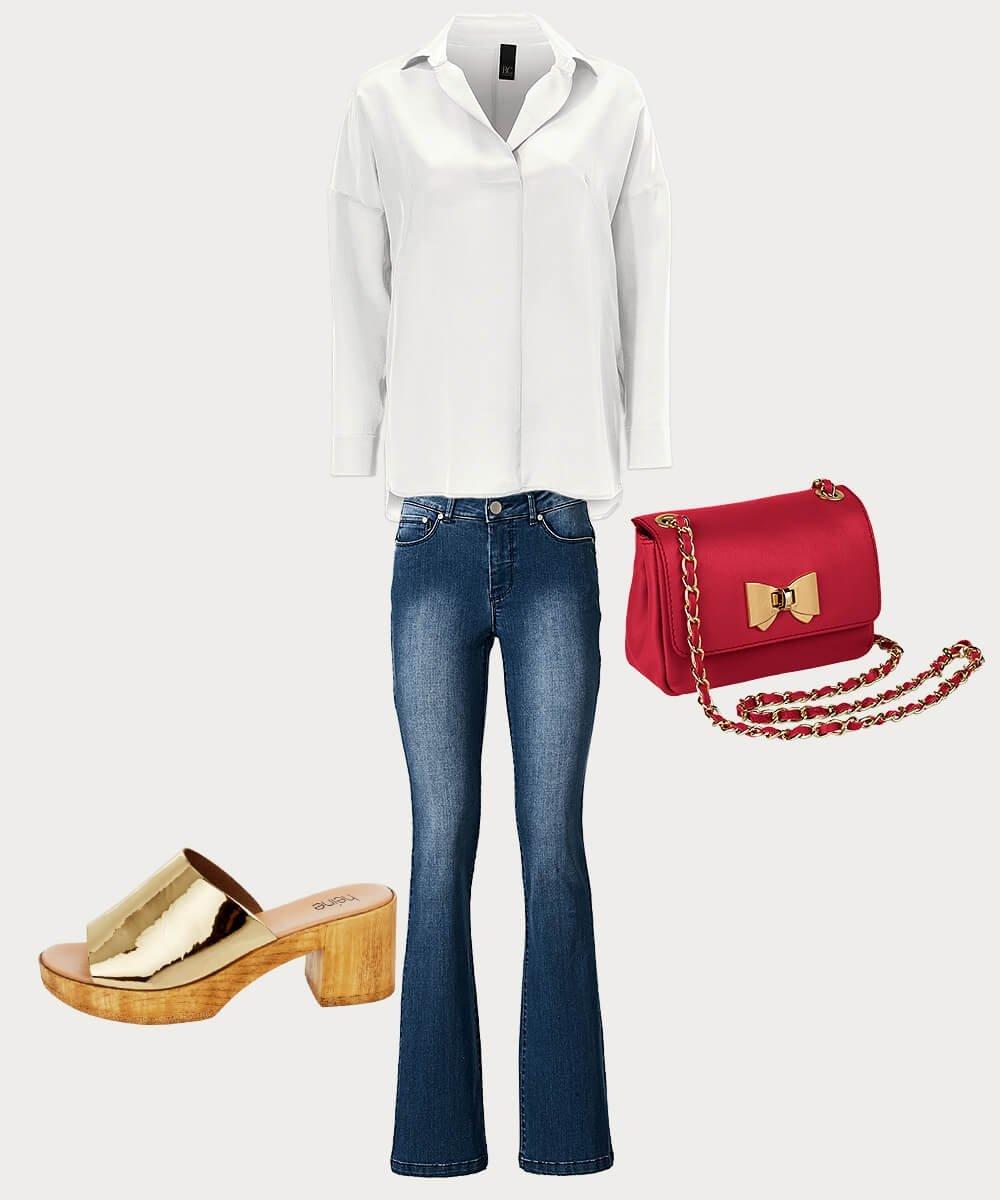 Weiße Bluse über Jeans
