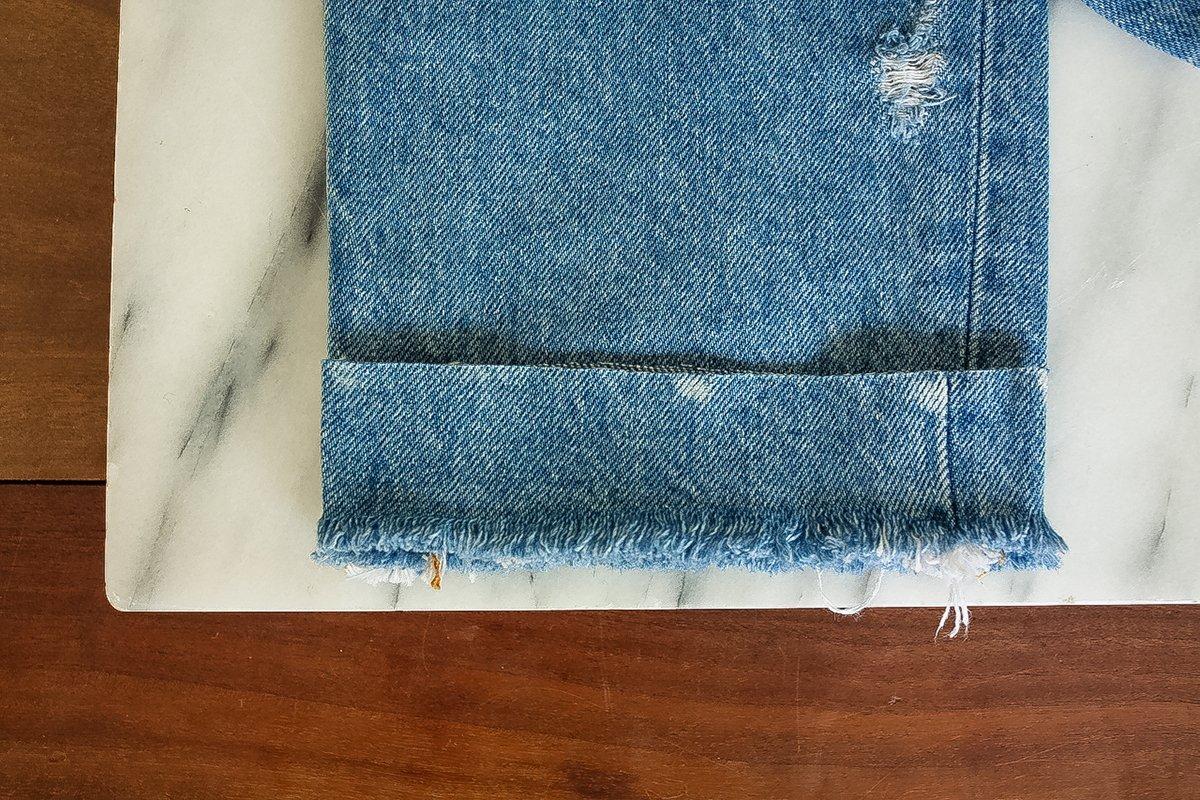 DIY Jeans - Saum als Schablone benutzen