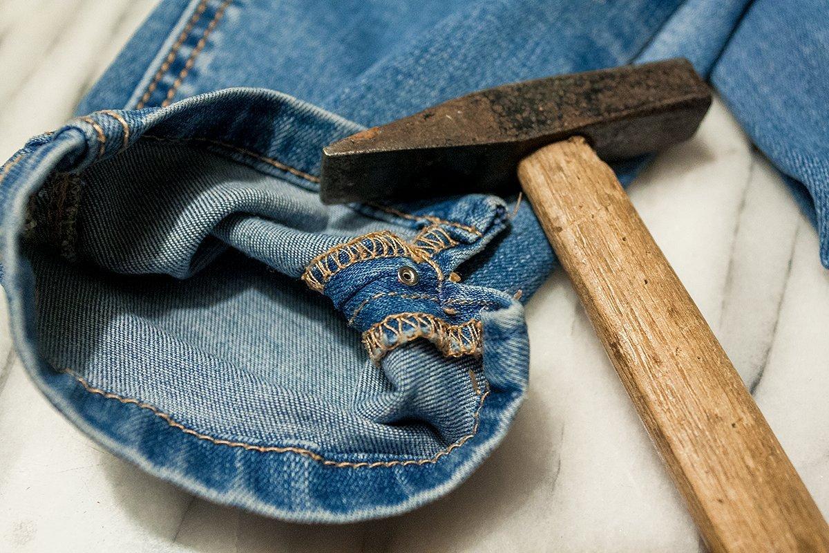 DIY Jeans: Perle befestigen