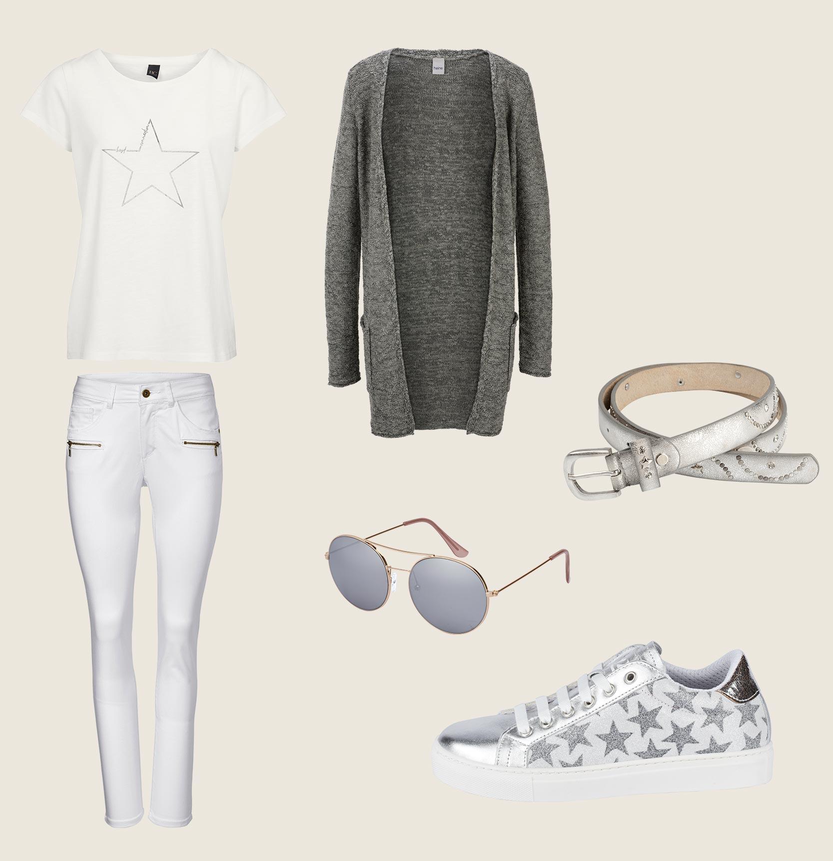 Weißes Shirt mit Skinny Jeans