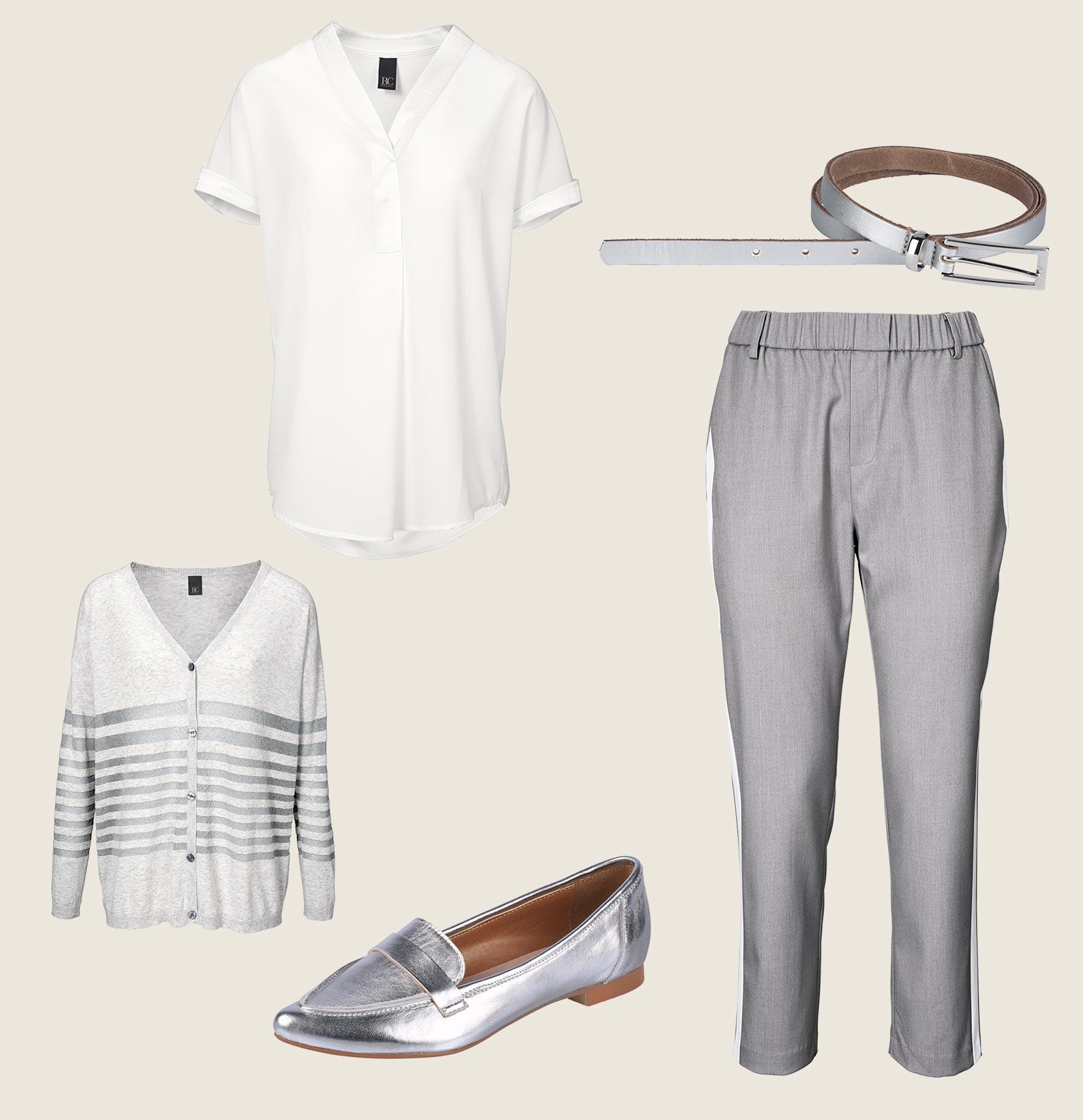 Weiße Bluse mit Jogpants