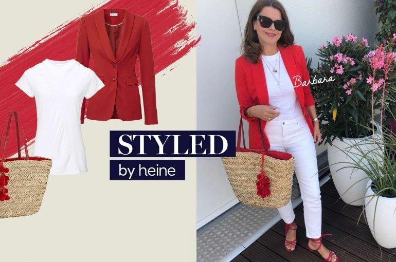 Eleganter Look mit rotem Blazer