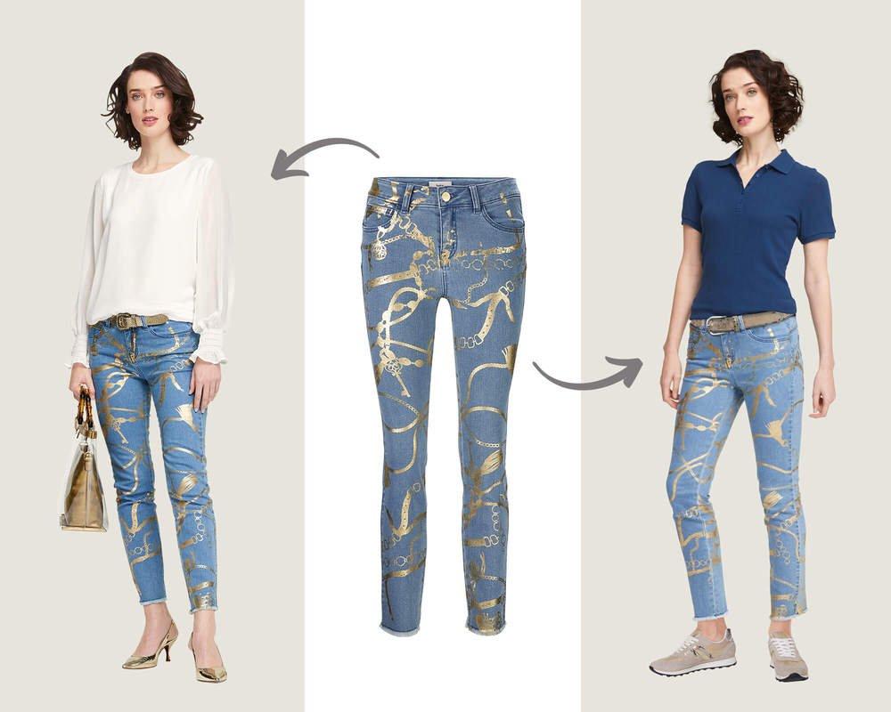 Jeans Golddruck