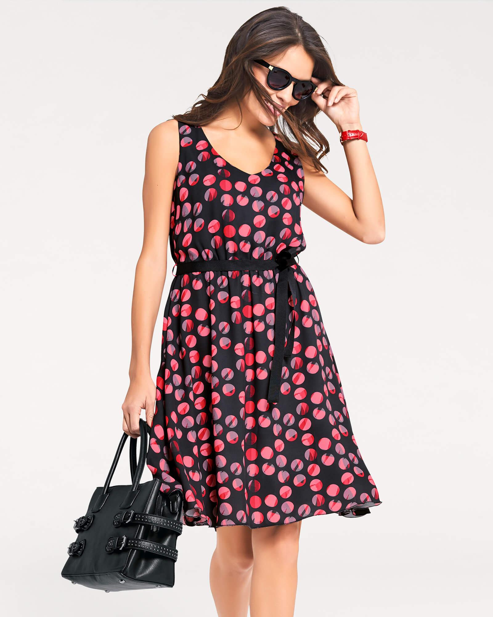 Leichtes Kleid mit farbigen Punkten