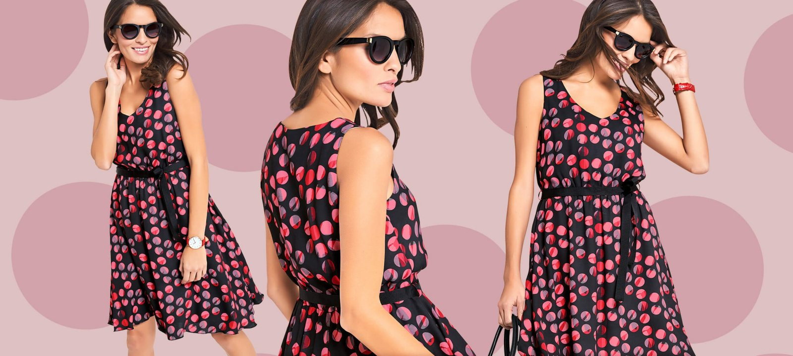 Frühlingskleid mit bunten Polka Dots