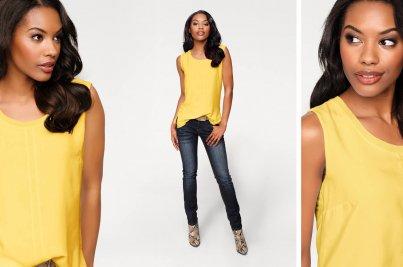 Frau mit gelbem Shirt