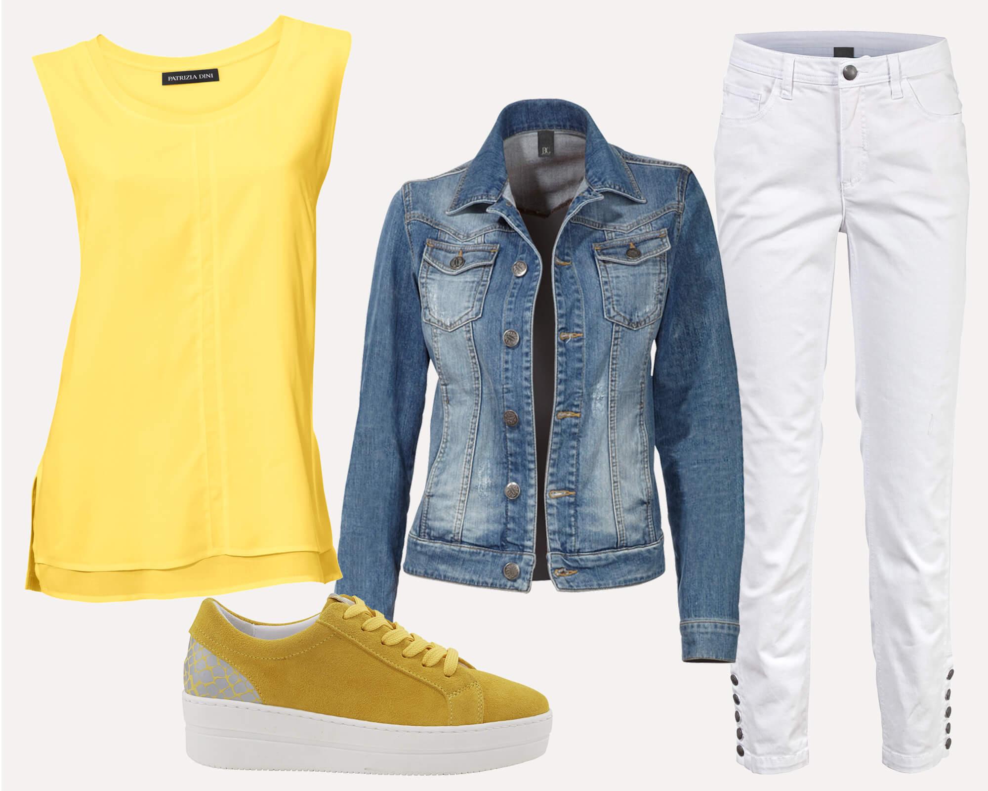 Gelbes Shirt mit Jeansjacke