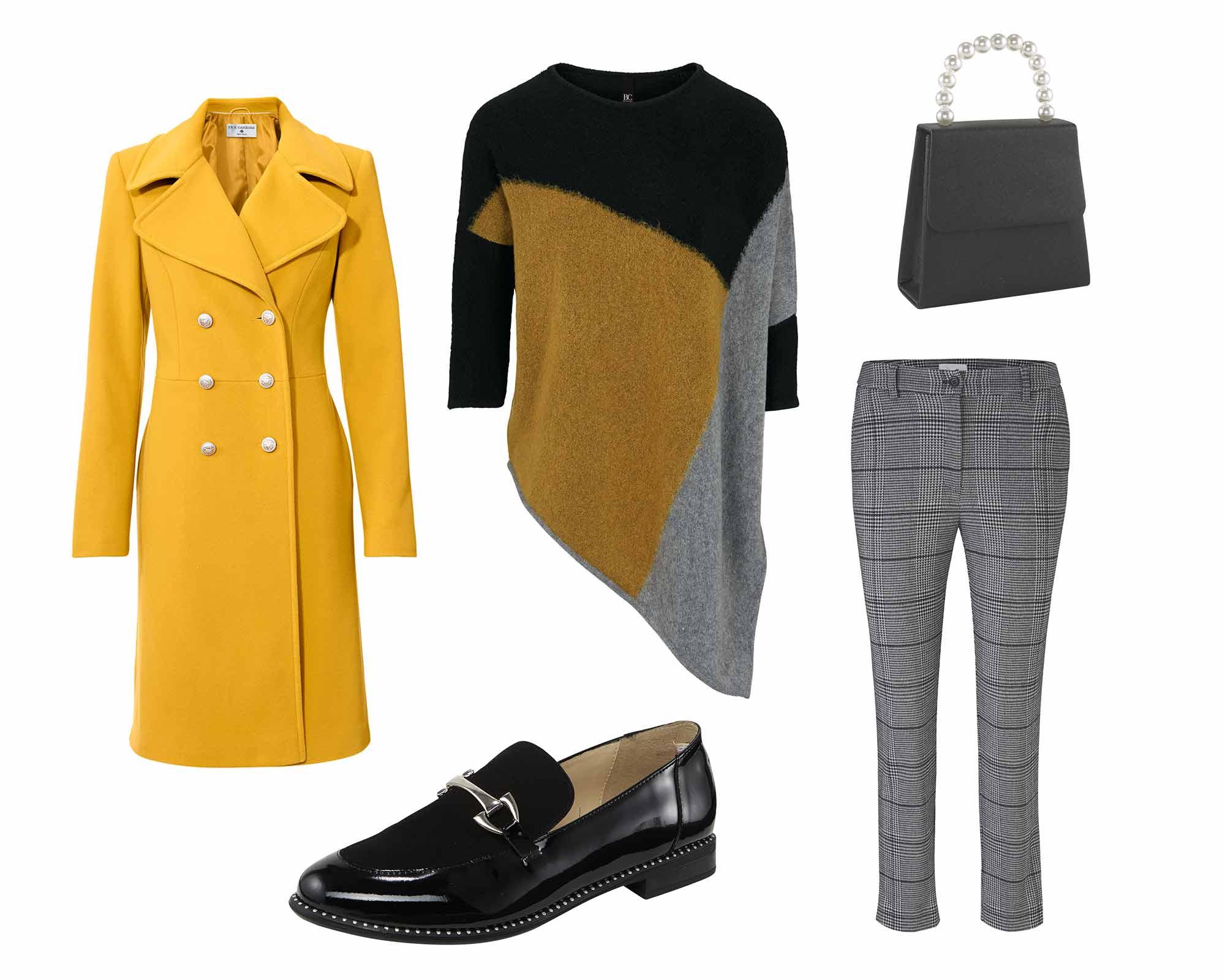 Oversized Pullover mit gelbem Mantel