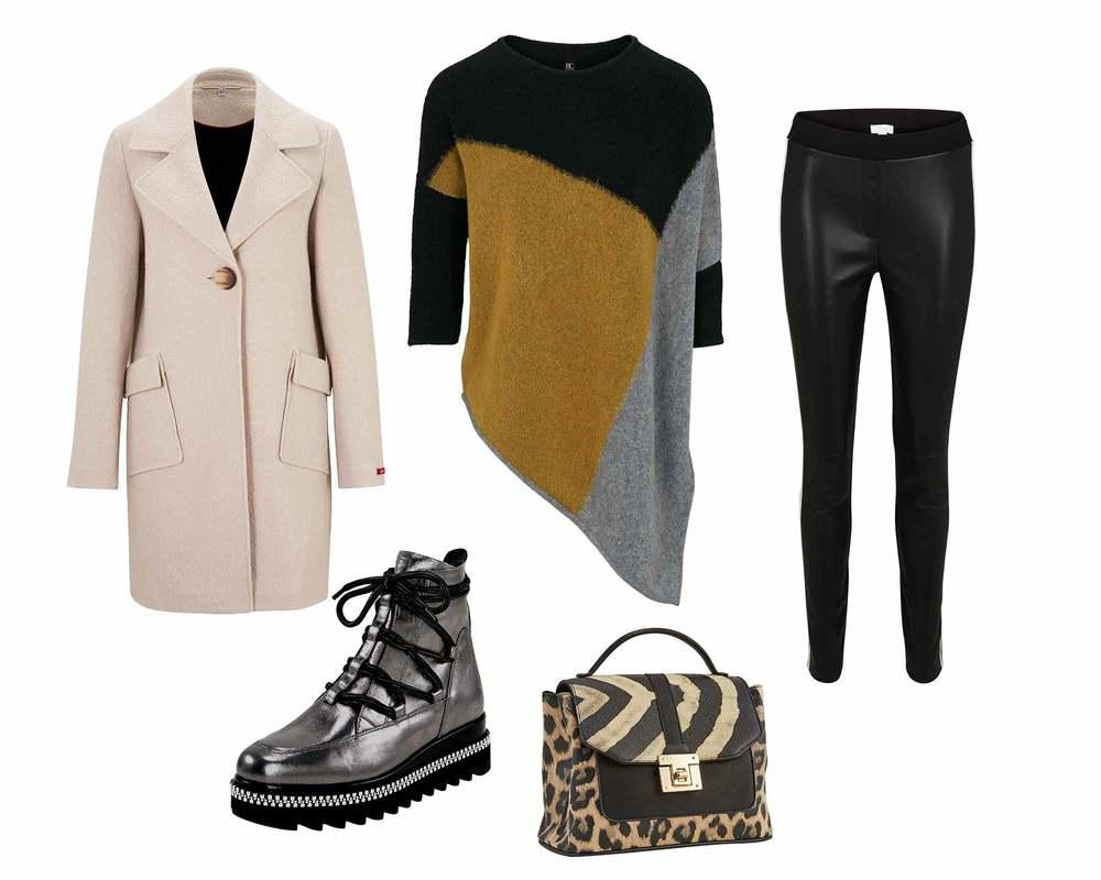 Oversized Pullover mit Lederleggings