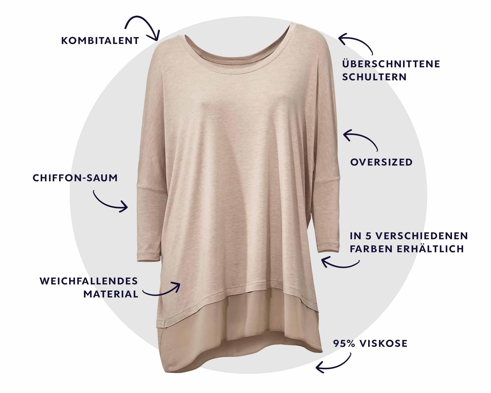 Oversize-Shirt mit Chiffon-Saum
