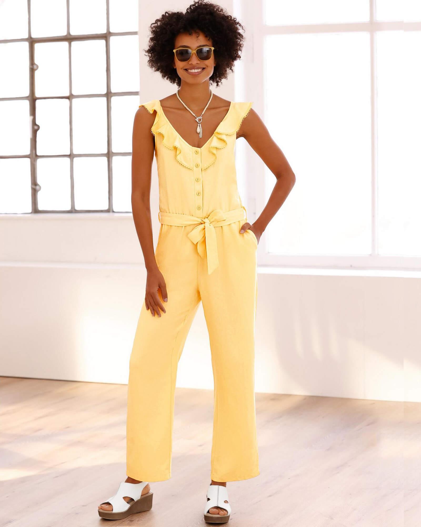 Leinen-Overall gelb