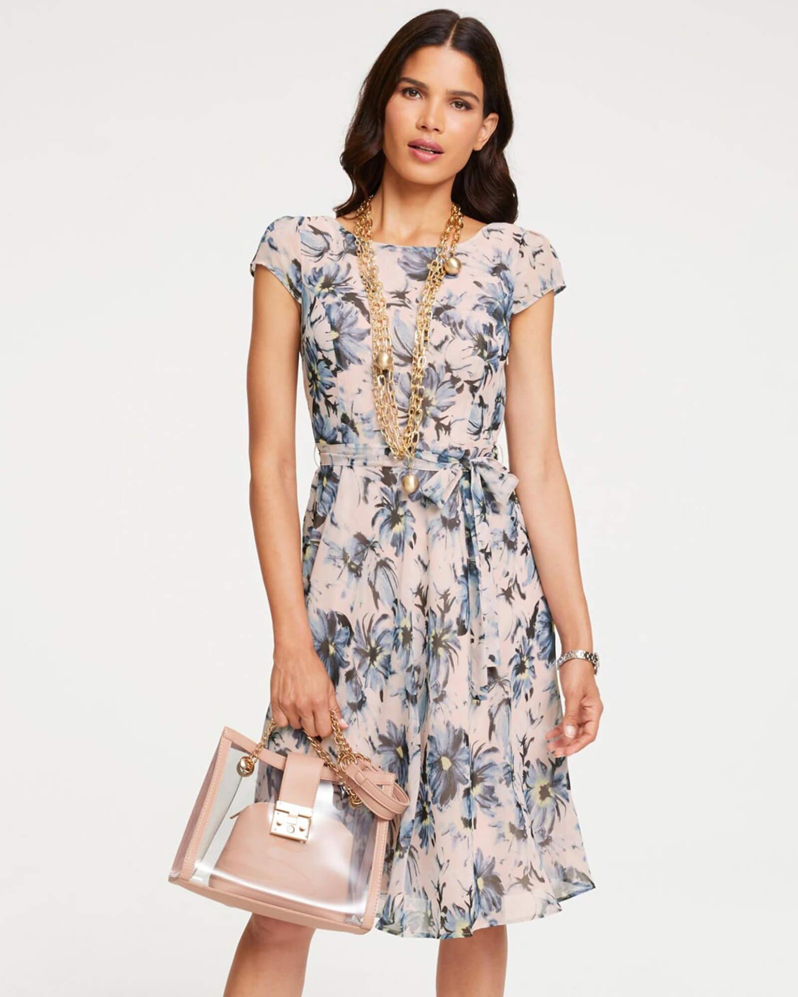 Kleid in Pastel mit Blütenprints
