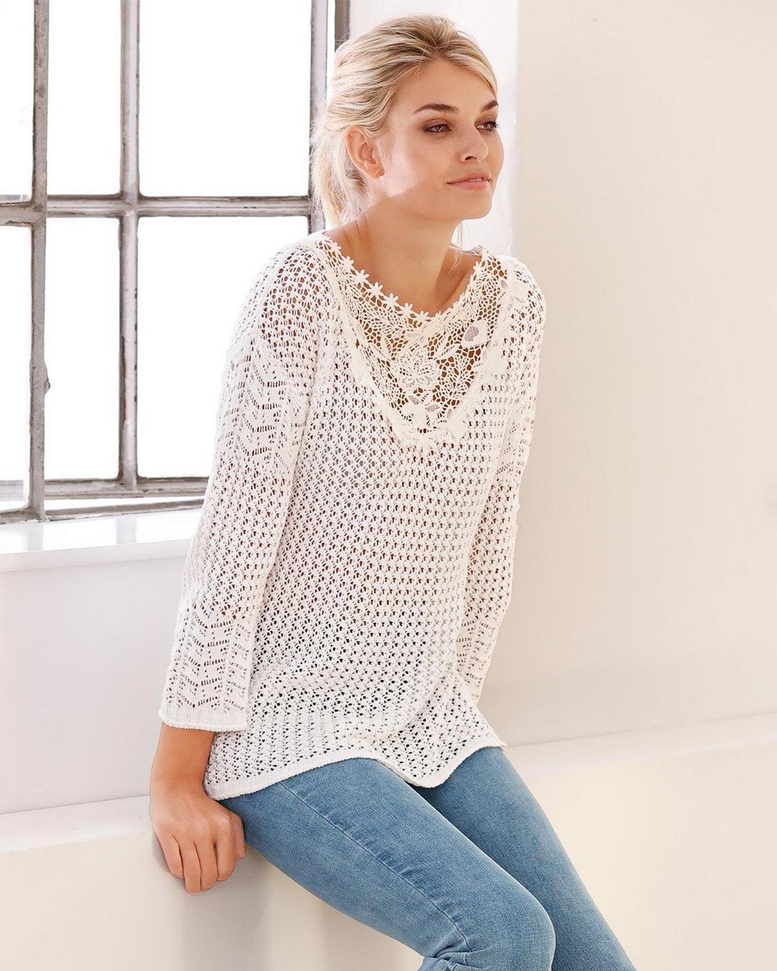Weißer Pullover Ajourstrick