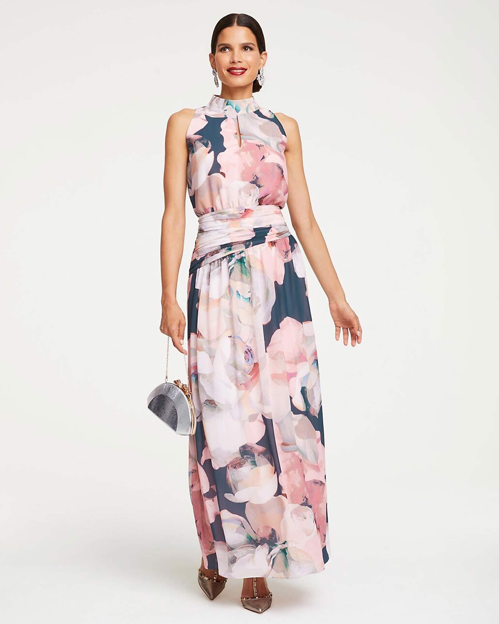 Abendkleid mit stilisierten Blüten