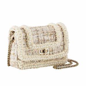 Tasche hell mit Textil